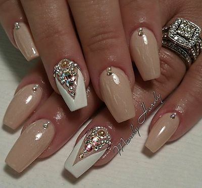 Nude and white crystal and pearl  coffin hand painted false nails