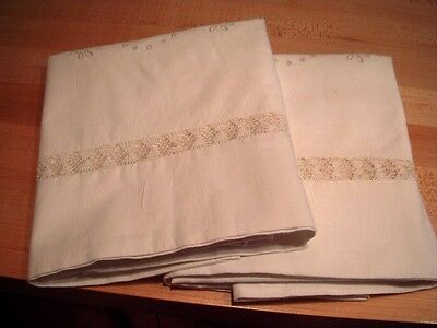 Pair Antique White Dove Embroidered & Drawn Thread Needle Weaving Pillowcases