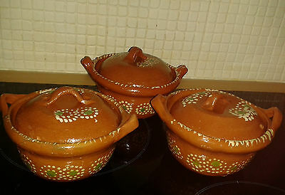 Vintage Mexican Colourful Terracotta/Earthenware x3 Lidded Dishes TlaquePaque ?