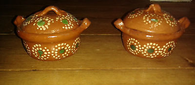 Vintage Mexican Colourful Redware x 2 Lidded Dishes TlaquePaque Design
