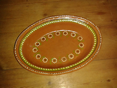 Vintage Mexican Colourful Terracotta/Earthenware Oval Dish TlaquePaque Design