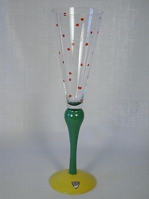 Orrefors Anne Nillson Clown Crystal Champagne Flute  Red Dots & Green & Yellow
