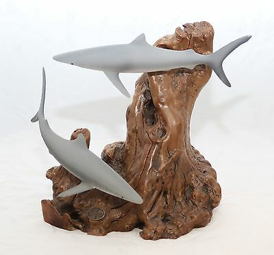 Reef sharks on Burl Wood ornament collectable John Perry item