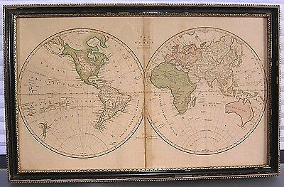 Antique Map of World Captain Cook's Tracks Book Folio Hand Colored Framed