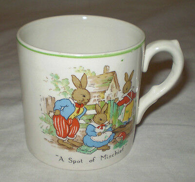 Vintage English Nelson Ware 'a Spot Of Mischief' Bunnies Childrens Mug/cup