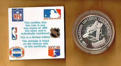 1991 Toronto Blue Jays Eastern Division Champions #2087 of 5000 .999 1 troy oz