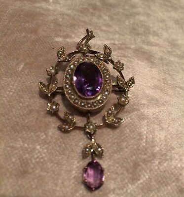 Edwardian Seed Pearl And Amethyst 9 Carat Gold Pendant Brooch, Stunning February