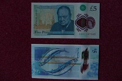 New Fiver £5 Pound Notes Pair, English & Scottish Uncirculated Aa01 187563 & Aa0