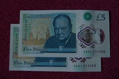 New Fiver £5 Pound Note Uncirculated  Pair Consecutive Aa01 274355 & 274356.