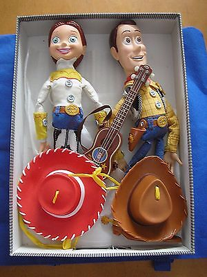 Woody and Jessie Pixar Toy Story Pull String Toys Lot With Hat and Guitar Set