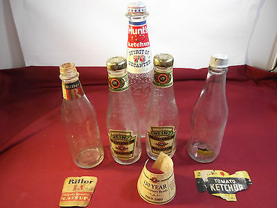 Vintage Catsup Bottles, Lot of 5 including Hunt's, Heinz, Ritter, Ann Page