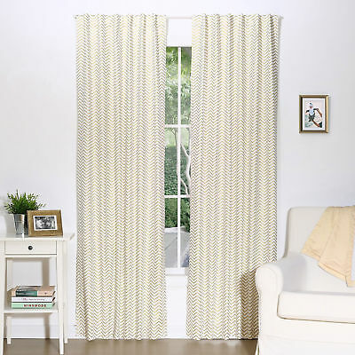Gold Zig Zag Print Blackout Window Drapery Panels - Two 84 x 42 Inch Panels