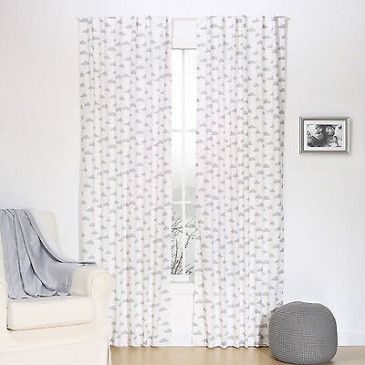 Grey Cloud Print Window Drapery Panels - Set of Two Drapes 84 x 42 Inch Panels