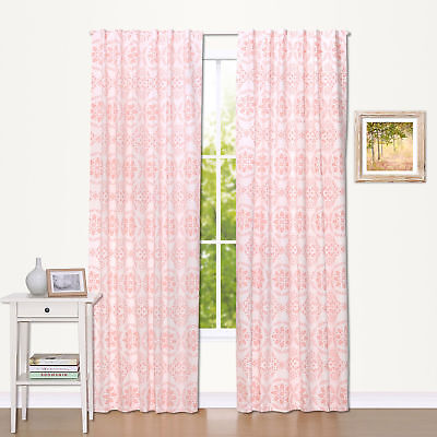 Coral Medallion Print Window Drapery Panels - Set of Two 84 x 42 Inch Panels