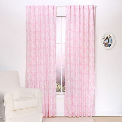 Pink Damask Print Blackout Window Drapery Panels - Two 84 x 42 Inch Panels