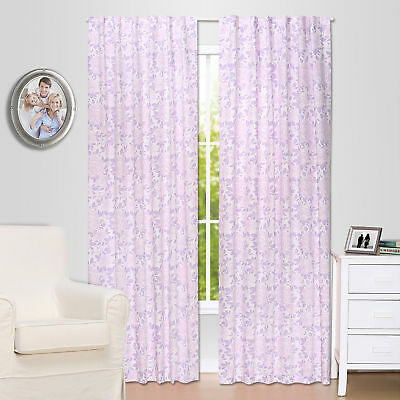 Purple Rose Floral Blackout Window Drapery Panels - Two 84 x 42 Inch Panels