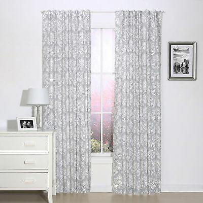 Grey Damask Print Window Drapery Panels - Set of Two Drapes 84 x 42 Inch Panels