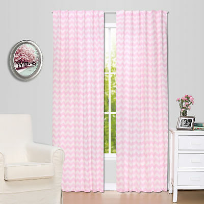 Pink Zig Zag Print Window Drapery Panels - Set of Two 84 x 42 Inch Panels