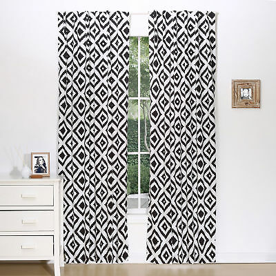 "Black Diamond Tile Print Blackout Window Drapery Panels - Two 84"" x 42"" Panels"