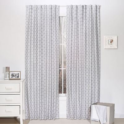 Grey Geometric Window Drapery Panels - Set of Two Drapes 84 x 42 Inch Panels