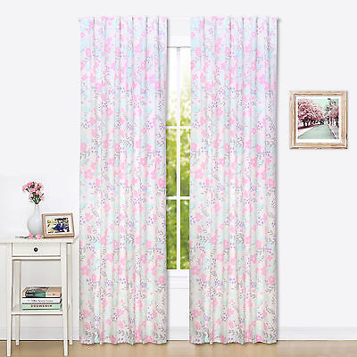 Pink and Mint Floral Blackout Window Drapery Panels - Two 84 x 42 Inch Panels