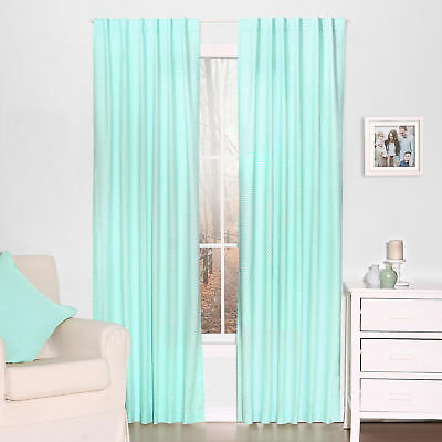 Mint Green Dot Print Blackout Window Drapery Panels - Two 84 x 42 Inch Drapes