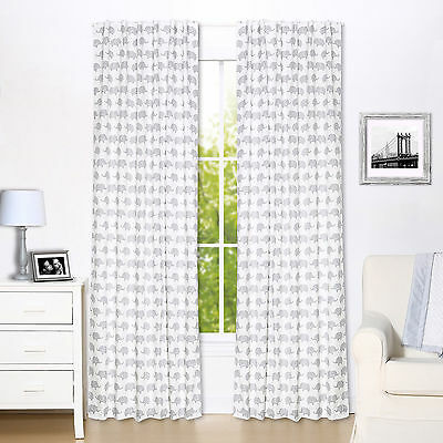 Grey Elephant Window Drapery Panels - Set of Two Drapes 84 x 42 Inch Panels