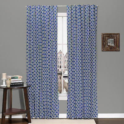 Navy Geometric Print Blackout Window Drapery Panels - Two 84 x 42 Inch Panels