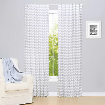 Grey Zig Zag Print Blackout Window Drapery Panels - Two 84 x 42 Inch Panels