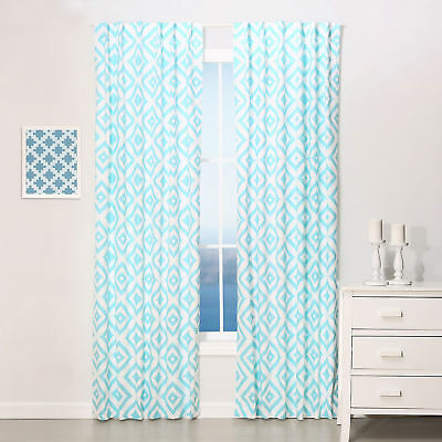 "Teal Blue Diamond Tile Print Blackout Window Drapery Panels - Two 84"" x 42"""