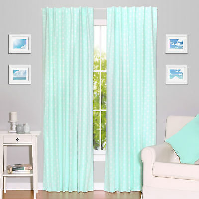 Mint Green Arrow Print Blackout Window Drapery Panels - Two 84 x 42 Inch Drapes