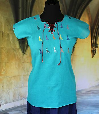 Turquoise & Multi-Color Huipil Hand Embroidery Mayan Chiapas Mexico Hippie Boho