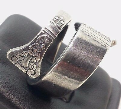 Vintage Large Spoon Ornate Wrap Heavy Sterling Silver 925 Rings 20G Sz.8 BC74