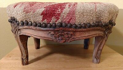 Antique Petite French Louis Carved Walnut Needlepoint FootStool Nail Head Art