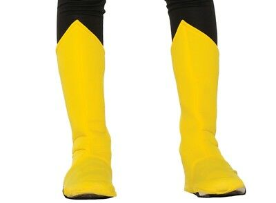 Superhero Yellow Boot Tops Shoe Covers Boys Girls Halloween Costume Accessory