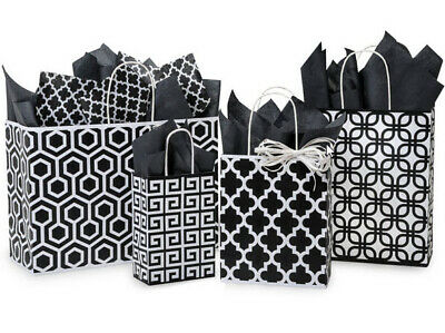 125 paper gift shopping bags with handles  Black and white assortment bulk