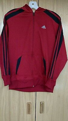 ADIDAS Red Zipper Front Hoodie Hooded Sweatshirt Jacket Size Youth large