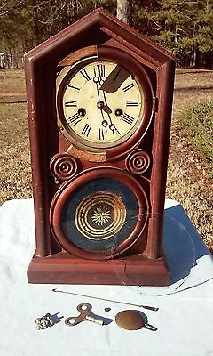Rare Antique Reverse Painting Clock For Parts Or Repair With Key Selling As Is
