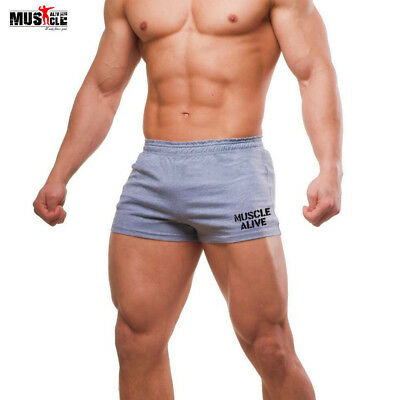 "Men Casual 3"" Inseam Shorts Bodybuilding Gym Clothing Running Cotton Fitness"