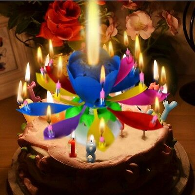 Birthday Candles Musical Lotus Flower Happy Birthday Party Rotating Lights Decor