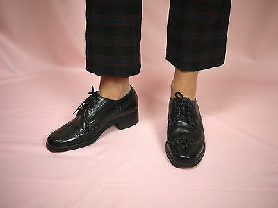 Lace-up Vintage Heeled Brogue - Leather, Classic, Smart Shoe, Oxford Shoe