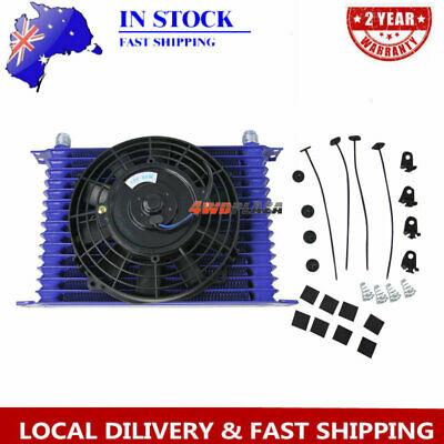 """15Row 10AN Racing engine Transmission Oil Cooler + 7"""" Electric Fan Universal"""