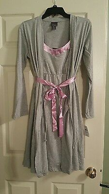 NWT Motherhood Oh Baby!  Maternity Gown And Robe 2 Piece Set Purple& Gray Small