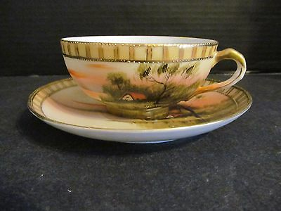 Nippon Hand Painted Cottage Lake Swan Paulownia Flower Stamp Cup & Saucer