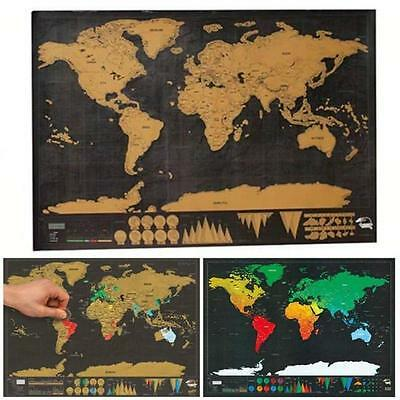 Black Deluxe Travel Edition Scratch Off World Map Poster Personalized Journal YZ
