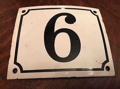 Vintage FRENCH White Black PORCELAIN DOOR HOUSE GATE Number Plate Sign 9 or 6