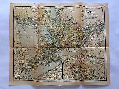 Antique 1891 Ontario Canada Map w/ Counties, Towns, RRs, with Toronto & Hamilton