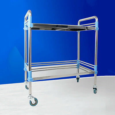 H215 Stainless Steel Durable Hospital Two Layers Medical Dental Lab Cart Trolley