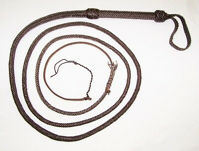 10 foot 16 Plait Dark Brown Leather Bullwhip Indiana Jones Stunt Man Bull Whip