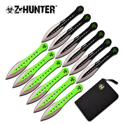 NEW War Sword 12 Set Green and Black Zombie Hunter Throwing Knives